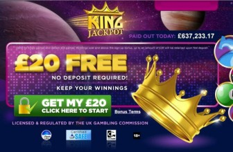FREE £20 TO PLAY ON SLOTS AND BINGO – KING JACKPOT